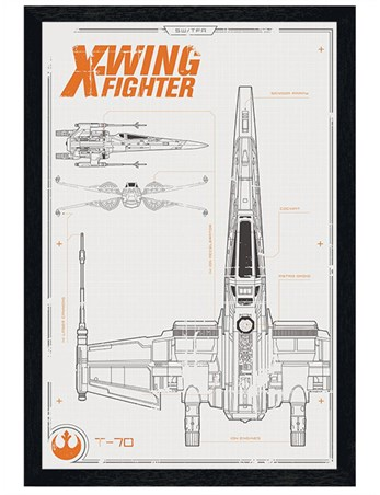 Black Wooden Framed X-Wing Starfighter Plans - Star Wars Episode VII