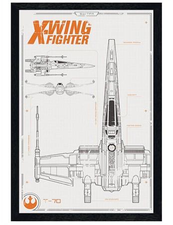 Black Wooden Framed X-Wing Starfighter Plans - Star Wars Episode VII