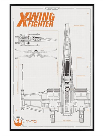 Gloss Black Framed X-Wing Starfighter Plans Poster - Star Wars Episode VII