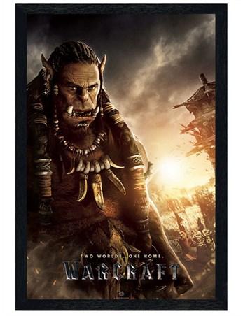 Black Wooden Framed Durotan Poster - Warcraft