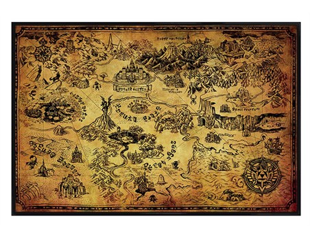 Gloss Black Framed The Legend Of Zelda - Hyrule Map