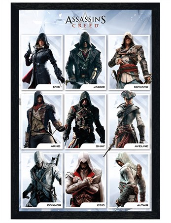 Black Wooden Framed Characters - Assassins Creed