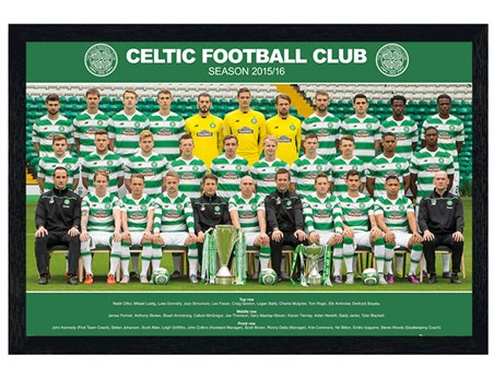 Framed Black Wooden Framed Team Photo 2015/16 - Celtic Football Club