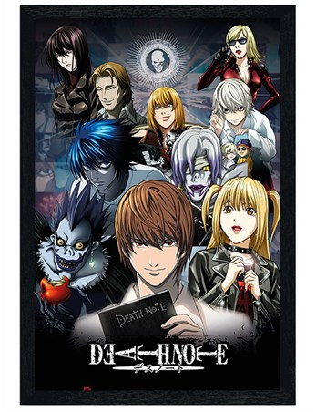 Gloss Black Framed The Shinigami, The Boy, And The Book - Death Note