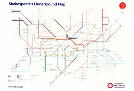 Framed Shakespeare's Underground Map - Transport For London