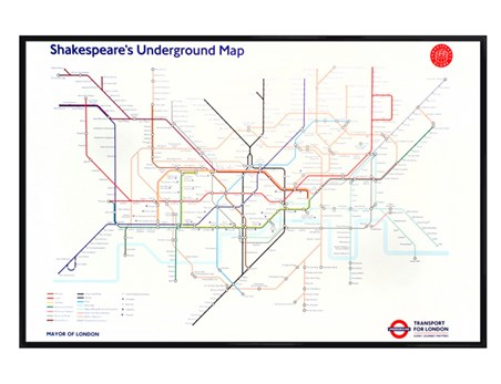 Gloss Black Framed Shakespeare Inspired Tube Map Underground Map