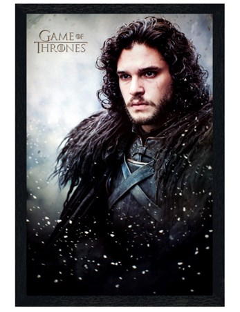 Black Wooden Framed Game Of Thrones Jon Snow -