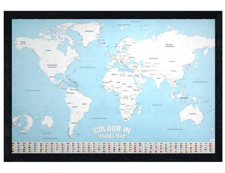 Black Wooden Framed Colour In - World Map