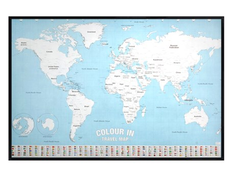 Gloss Black Framed Colour In Checklist - World Map