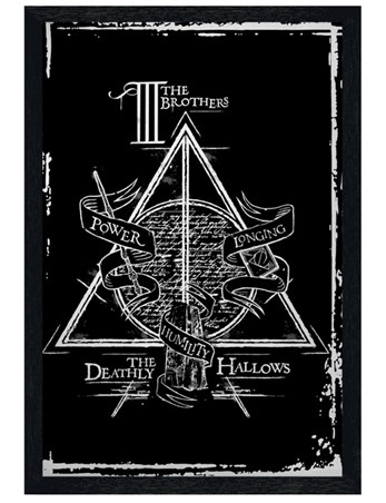 Black Wooden Framed Deathly Hallows Graphic - Harry Potter