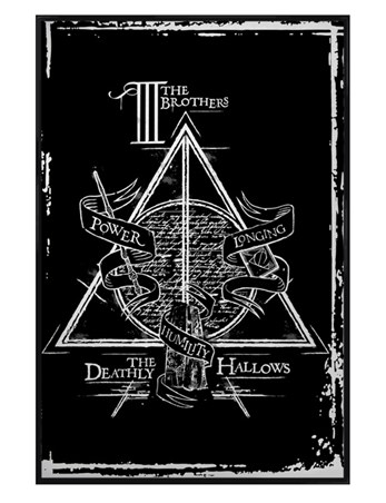 Gloss Black Framed Deathly Hallows Graphic - Harry Potter