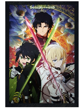 Black Wooden Framed A Thrilling Trio - Seraph Of The End