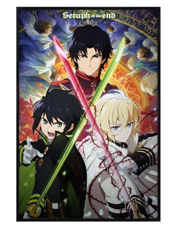 Gloss Black Framed A Thrilling Trio - Seraph Of The End
