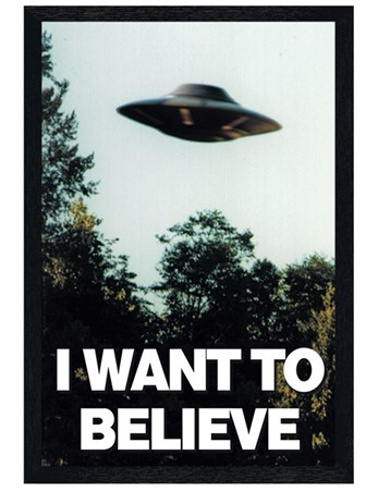 Black Wooden Framed I Want To Believe Framed Poster