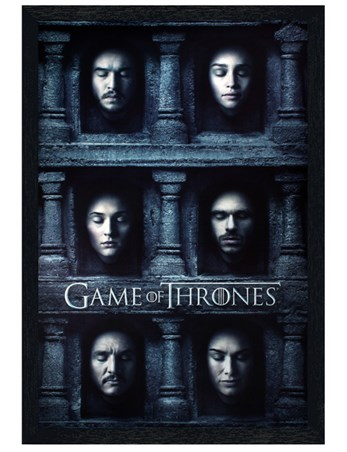 Black Wooden Framed Hall Of Faces - Game Of Thrones