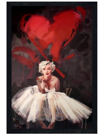 Black Wooden Framed Marilyn Monroe Paint - James Patterson