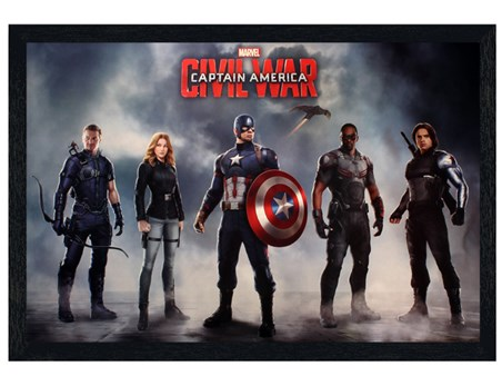Black Wooden Framed Team Captain America - Captain America Civil War