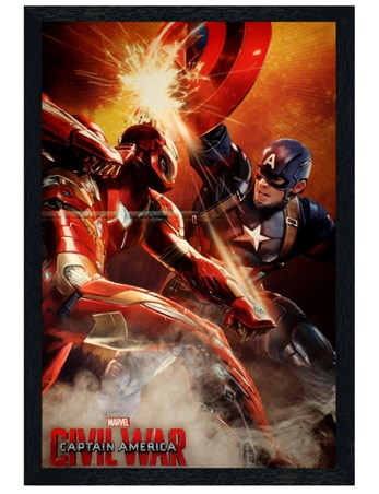Framed Black Wooden Framed Fight - Captain America Civil War