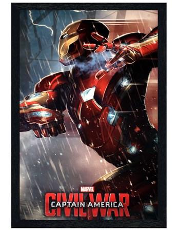 Black Wooden Framed Iron Man Framed Poster