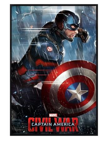 Gloss Black Framed Captain America - Captain America Civil War