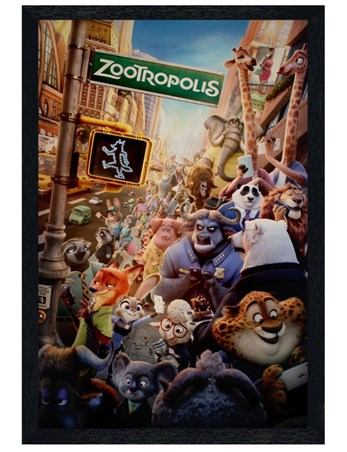 Black Wooden Framed Animal Collage - Zootropolis