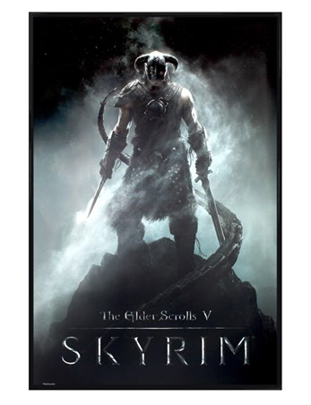 Gloss Black Framed Dragonborn - Skyrim The Elder Scrolls