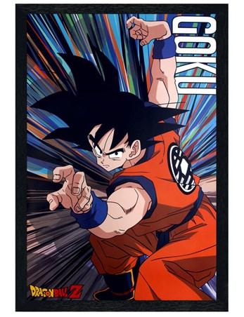 Black Wooden Framed Goku Battle Stance - Dragon Ball Z