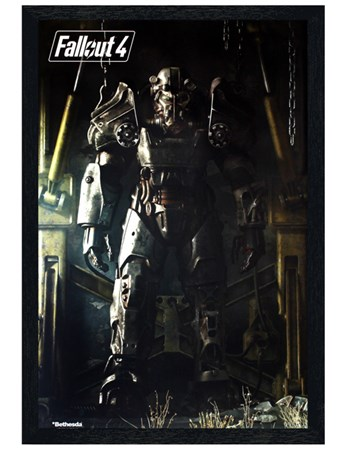 Framed Black Wooden Framed Power Armour Poster - Fallout 4