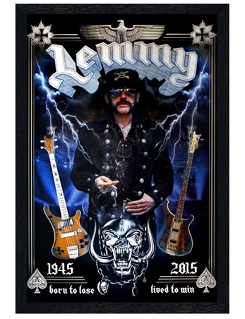 Black Wooden Framed Lemmy Commemorative - Motorhead