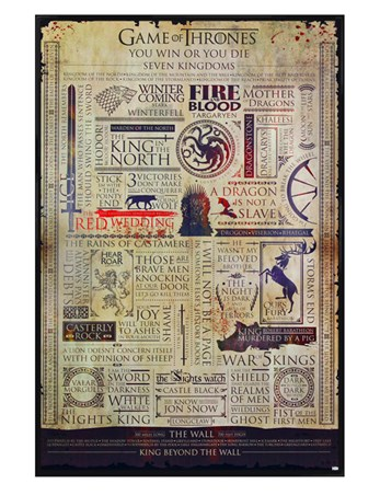 Gloss Black Framed Infographic - Game Of Thrones