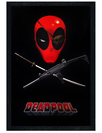 Black Wooden Framed Merc Jolly Roger - Deadpool