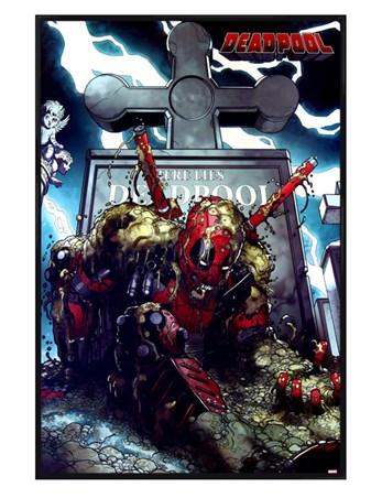 Gloss Black Framed Here Lies Wade Wilson - Deadpool