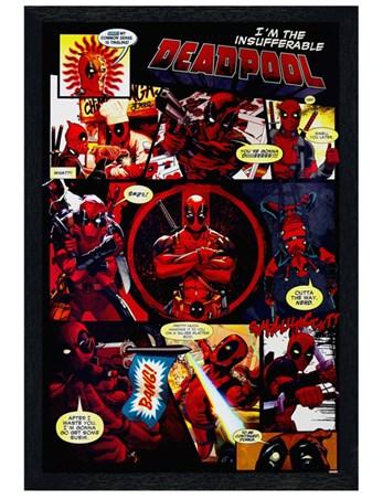 Black Wooden Framed Panels - Deadpool