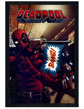 Black Wooden Framed Bang, Bang, Bang! - Deadpool