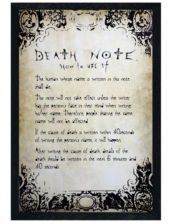 Black Wooden Framed Deadly Rules - Death Note
