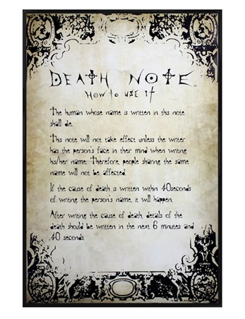 Gloss Black Framed Know How To Play The Game - Death Note