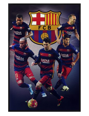 Gloss Black Framed Star Players - Barcelona Football Club