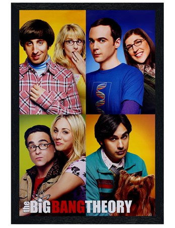 Black Wooden Framed Character Blocks - The Big Bang Theory