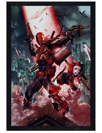 Black Wooden Framed Deathstroke & Harley Quinn - DC Comics Suicide Squad