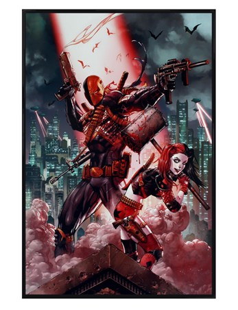 Gloss Black Framed Deathstroke & Harley Quinn - DC Comics Suicide Squad