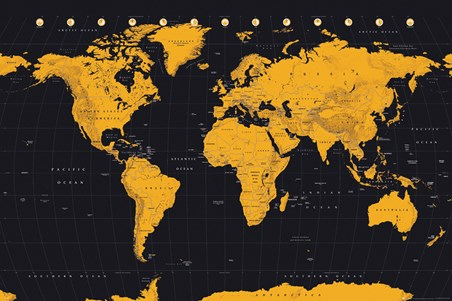 Black And Gold - World Map