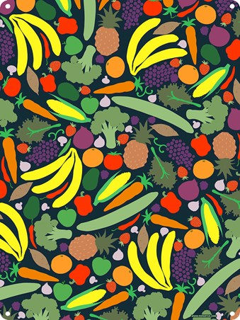 Fruit And Veg Galore - Vibrant Vegan Tin Sign