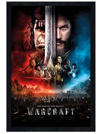 Black Wooden Framed One Sheet - Warcraft