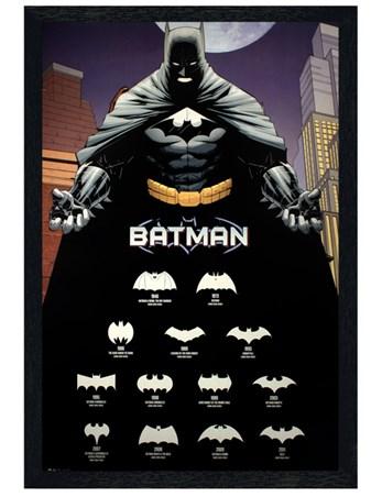 Black Wooden Framed Comics Logos - Batman