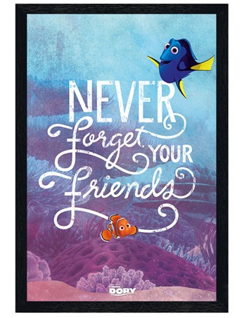 Black Wooden Framed Never Forget Your Friends - Finding Dory