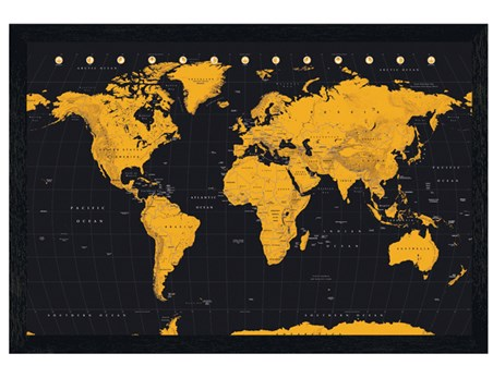 Black Wooden Framed Gold - World Map