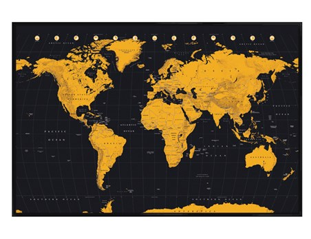Gloss Black Framed Globe In Gold - World Map
