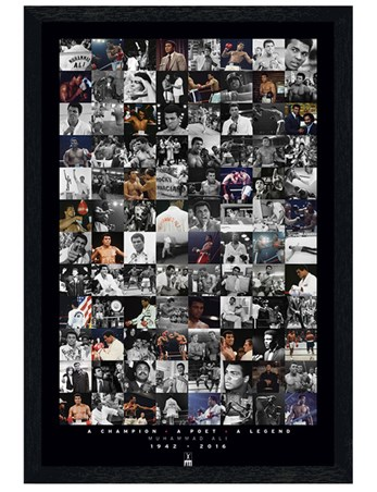 Black Wooden Framed Commemorative Montage - Muhammad Ali
