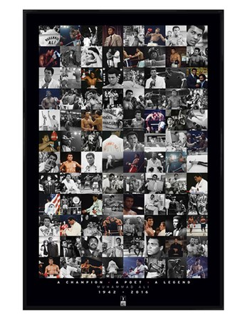 Gloss Black Framed Commemorative Montage - Muhammad Ali