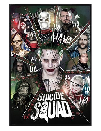 Gloss Black Framed Shattered Circle - Suicide Squad